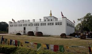 Visitors gather at the Maya Devi Temple in Lumbini, …