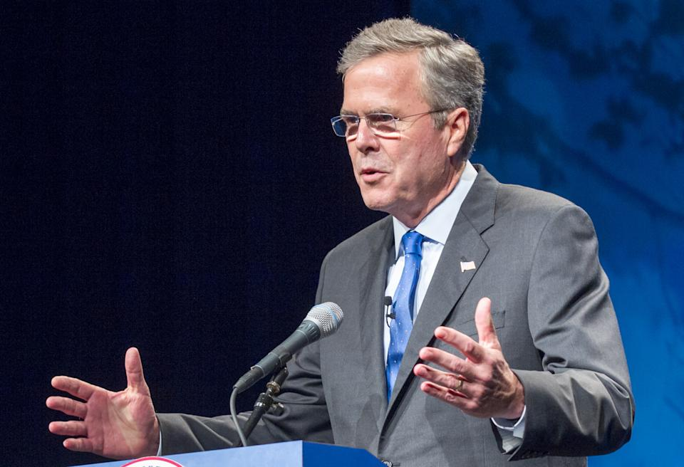 FILE - In this May 30, 2015 file photo, former Florida Gov. Jeb Bush speaks in Nashville, Tenn. As Jeb Bush focuses on foreign policy this week during...