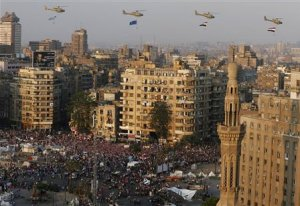 File photo of a fly-past over protesters against ousted …
