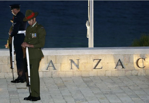 FILE   In this April 25, 2008 file photo shows Australian and New Zealand soldiers standing guard during a dawn ceremony to mark the Anzac Day at Anzac Cove in the Gallipoli peninsula, northwestern Tu