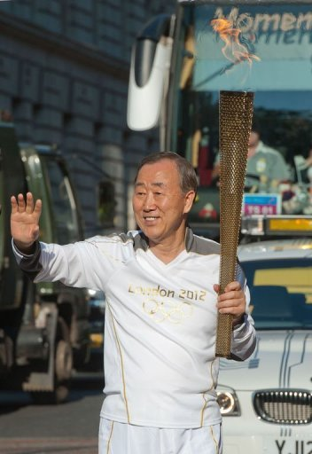 United Nations Secretary General Ban Ki-moon sets off on the London 2012 Olympic Torch Relay