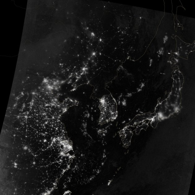 A NASA Earth Observatory image shows the area near Korean Peninsula on the night of September 24, 2012