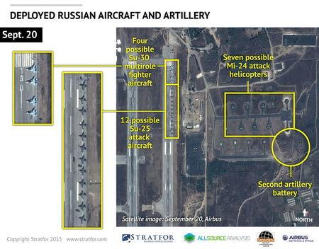 An Airbus Defence and Space satellite image courtesy of Stratfor shows Russian combat aircraft stationed at the Bassel al Assad air base near the...