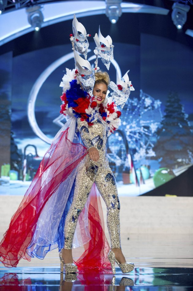 Miss Netherlands den Dekker performs onstage at the 2012 Miss Universe National Costume Show at PH Live in Las Vegas