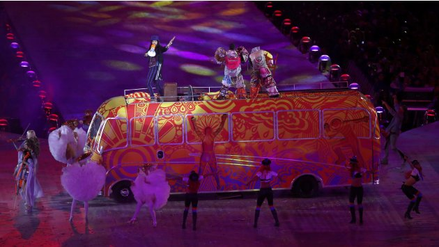 Actor Russell Brando on top of bus performs during closing ceremony of London 2012 Olympic Games at Olympic Stadium