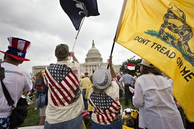Tea Partiers wear flags in violation of the U.S. Flag Code, AP photo, June 2013