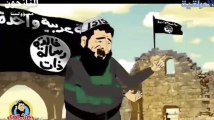 "In this image made from an undated cartoon broadcast on state-run al-Iraqiya TV in Iraq, a cartoon character portrayed as a member or a supporter of the Islamic State group sings a song. Television networks across the Middle East have begun airing cartoons and comedy programs using satire to criticize the group and its claim of representing Islam. And while not directly confronting their battlefield gains, the shows challenge the legitimacy of the Islamic group and chips away at the fear some have that they are unstoppable. The Arabic writing on the flag reads, ""One Arab nation,"" top, and ""Having an eternal message."" ""ISIS"" on the cartoon character's head cover is the outdated acronym of the group. (AP Photo/al-Iraqiya)"