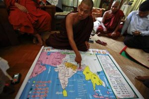 Wimala Biwuntha shows a religious map before the introduction …