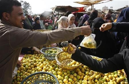 Egyptians shop at a vegetable market in Cairo February 6, 2011. REUTERS/Amr Abdallah Dalsh