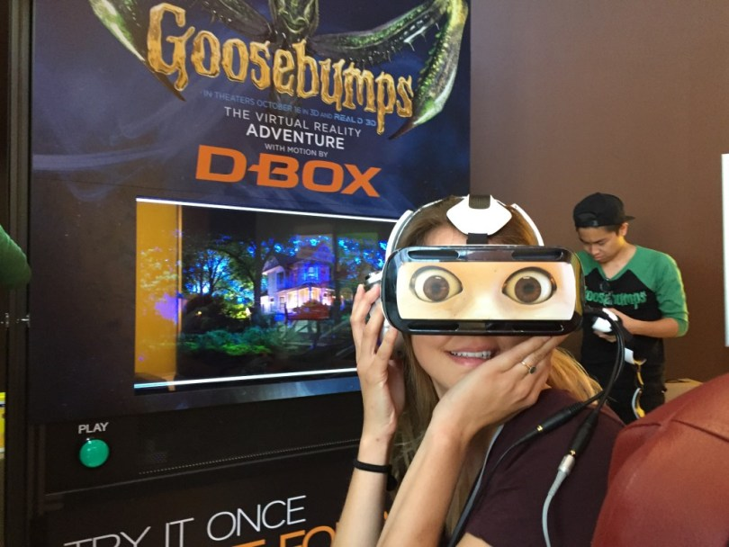 Carly bracing herself for the Goosebumps VR experience