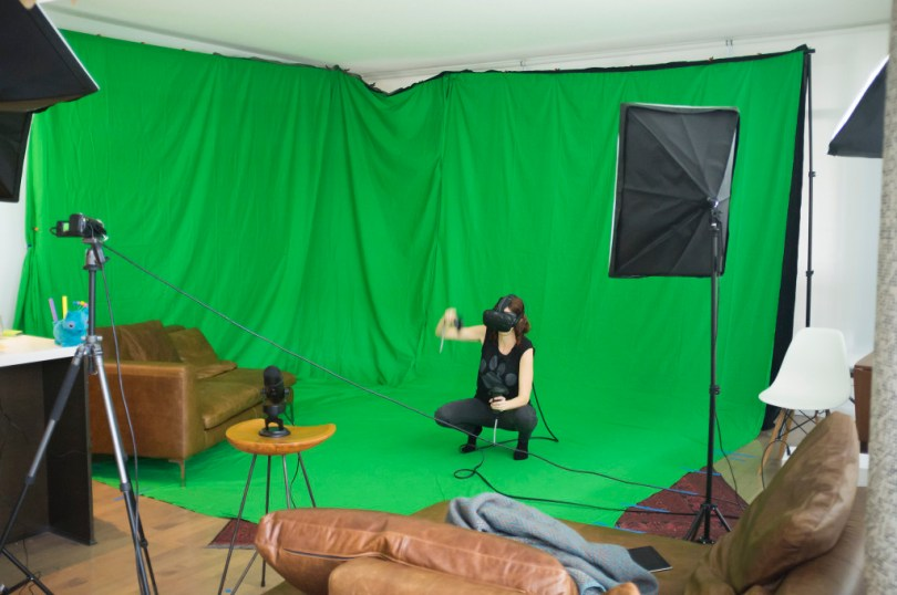 Colin and Sarah Northway's experimental Twitch streaming green screen room.