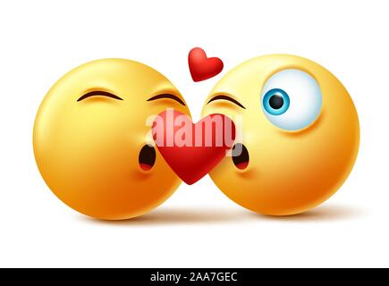 Download Heart smiley emoji vector for Valentines Day. Funny red ...