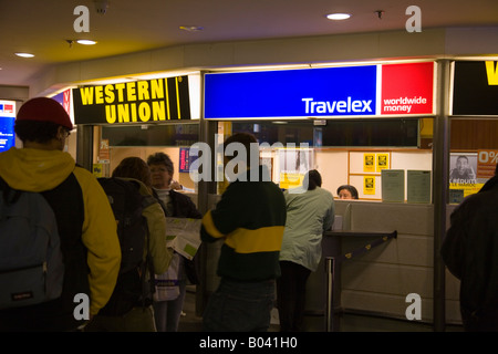 travelex bureau de change at bruxelles midi station brussels belgium stock photo