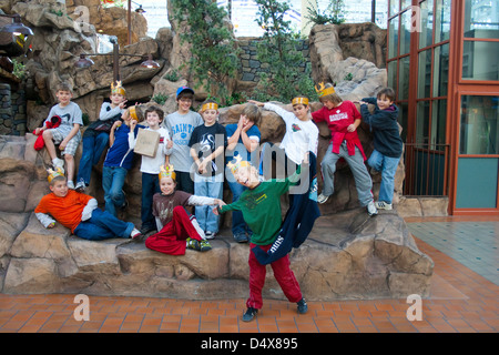 Group Portrait At Childrens Birthday Party Stock Photo Alamy
