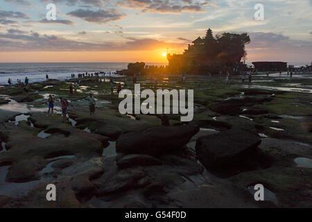 Indonesia, Bali, Tabanan, sunset at Batu Bolong beach ...