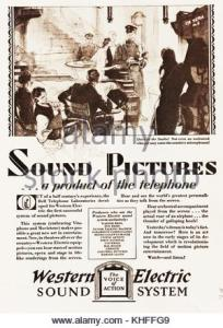 Advertisement for WESTERN ELECTRIC sound system c1937 Stock Photo     Western Electric Sound System 1929 magazine advertisement for films that  have sound  a system that
