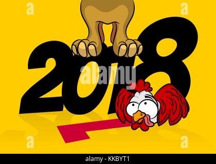 Funny cartoon card with dog and rooster  Symbols of 2017 and 2018         Comic cartoon dpg rooster 2018 new year   Stock Photo