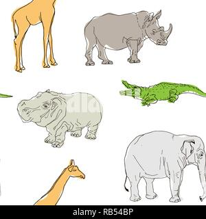 Seamless Pattern With Rhinoceros Elephant Crocodile Whale