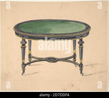 table ronde ou ovale avec un haut vert