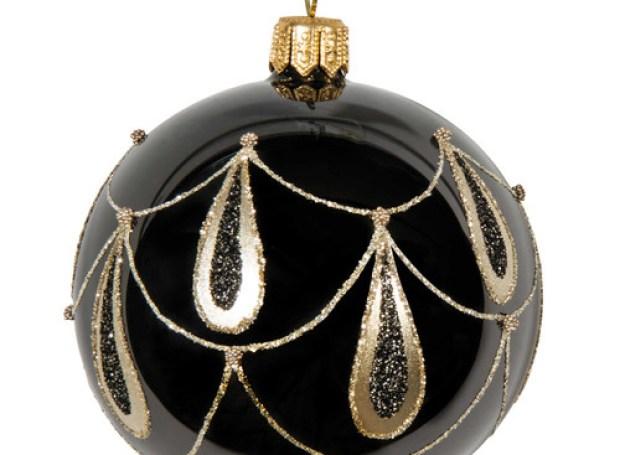 Boule de Noël noire en verre 7 cm MILORD
