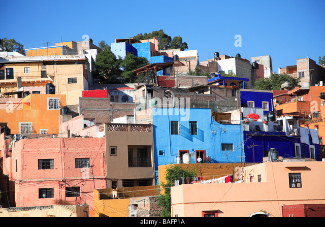 89 Colorful Mexican Architecture Crowded Street And