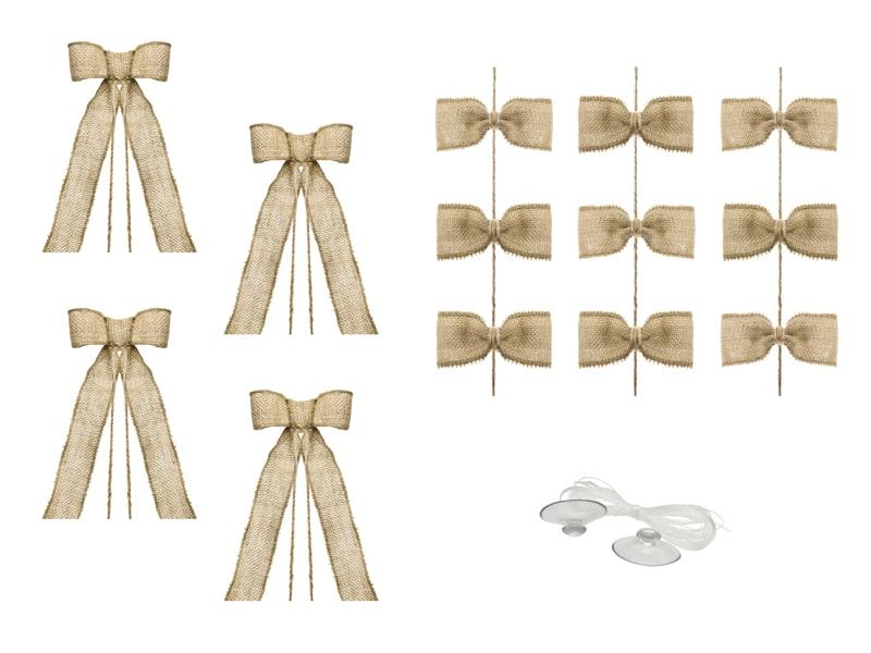 decoration voiture mariage champetre kit nœud en jute