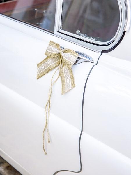 decoration voiture mariage champetre kit nœud en jute et dentelle