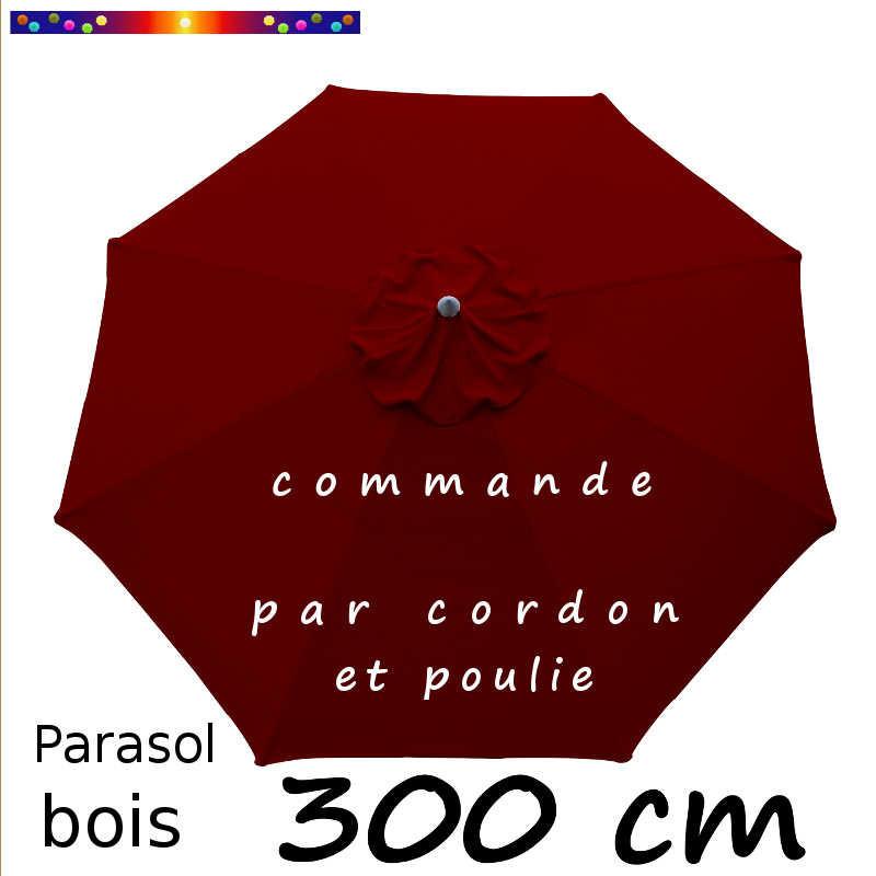 la boutique du parasol parasol modele lacanau bois rond 300 cm couleur rouge bordeaux