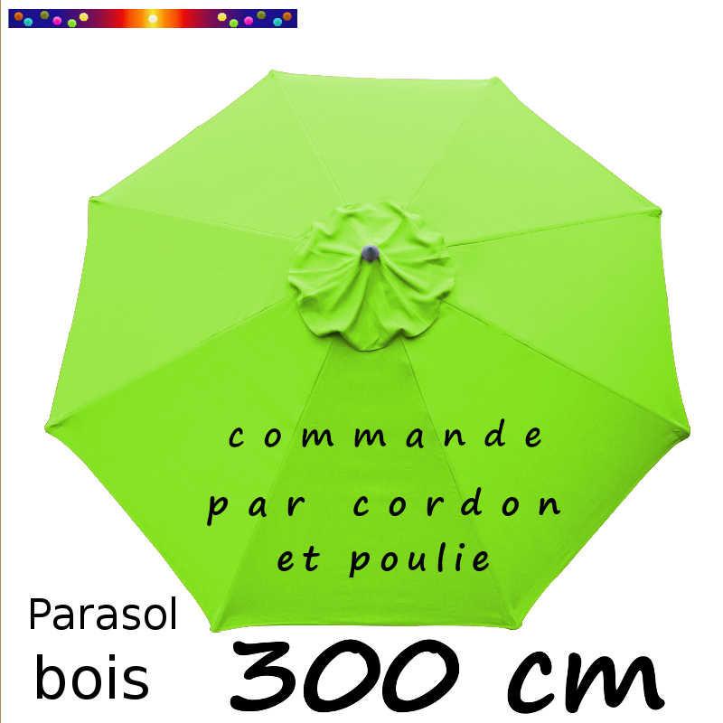 la boutique du parasol parasol modele lacanau bois rond 300 cm couleur vert lime