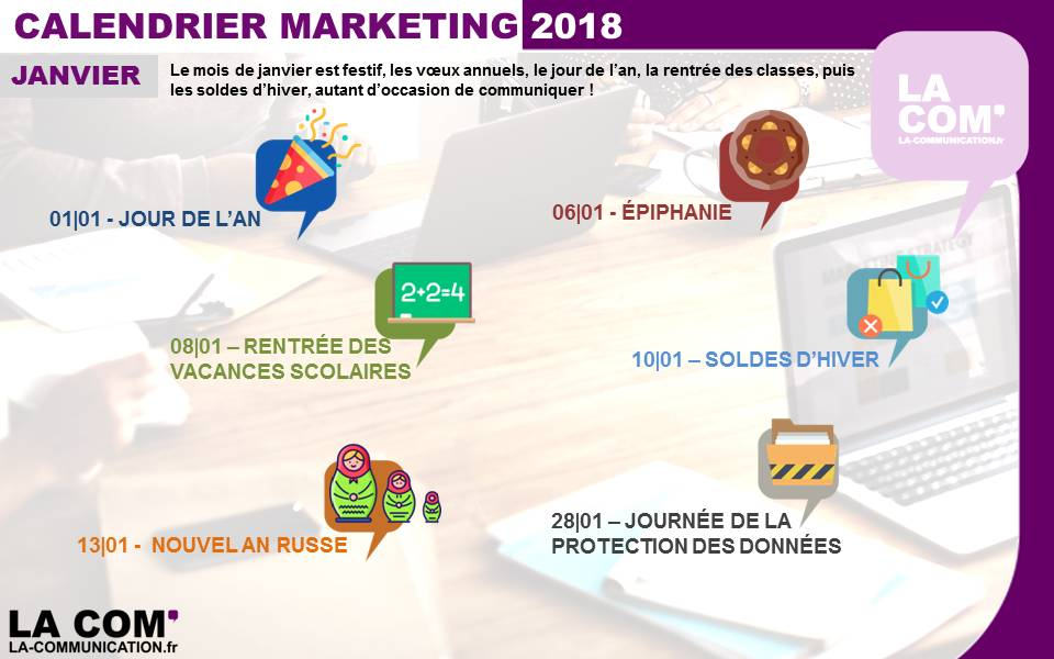 calendrier Marketing janvier 2018