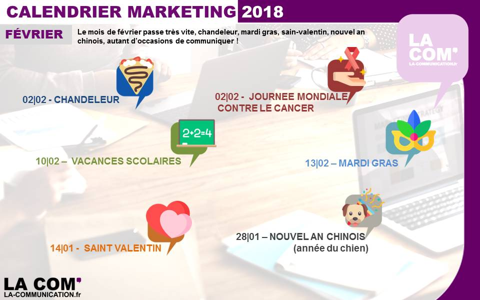 calendrier Marketing février 2018