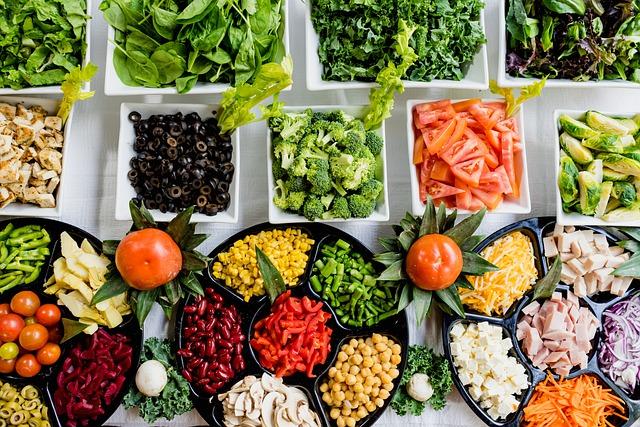 buffet de légumes frais