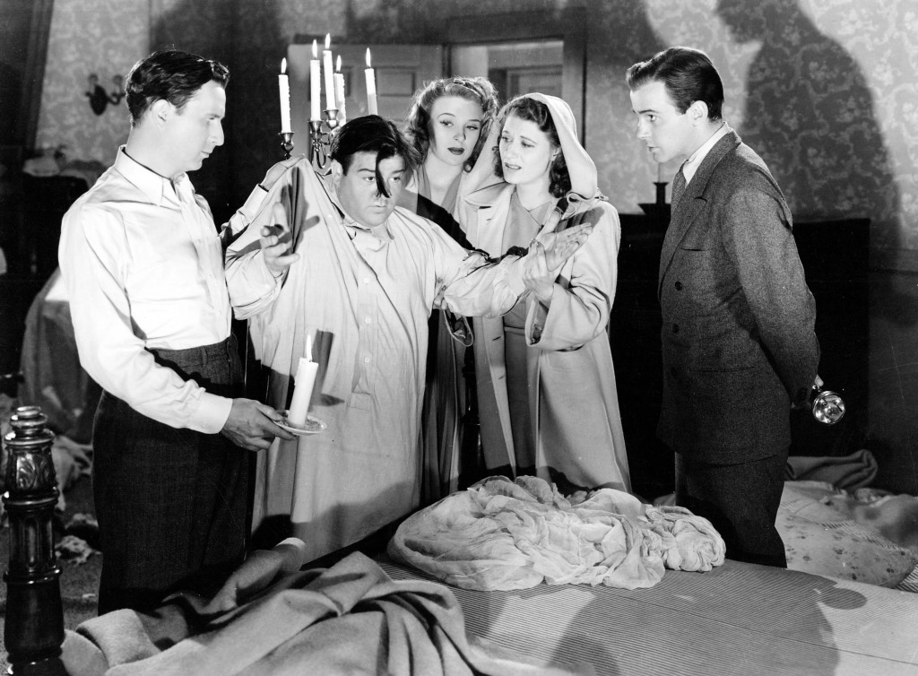 Left to right: Bud Abbott, Lou Costello, Evelyn Ankers, Joan Davis and Richard Carlson in HOLD THAT GHOST (1941), directed by Arthur Lubin.