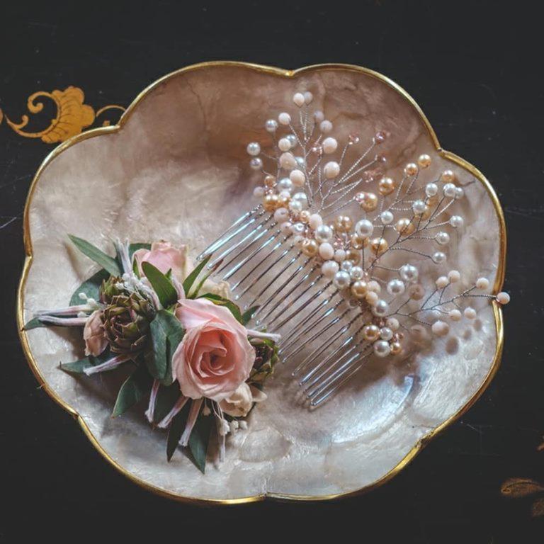 Photolook peigne à cheveux mariage bohème par Marie Gonon créatrice Saint-Étienne