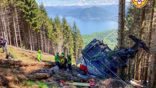 Foto del teleferico de Italia tras el accidente