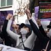 Foto de la marcha polly fernanda diego helguera