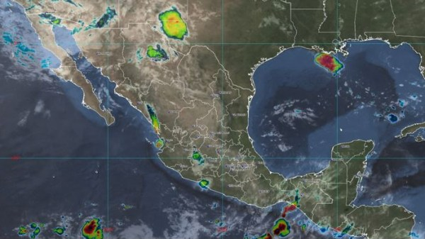 Foto satelital del pronóstico del lluvias del Sistema Meteorológico Nacional