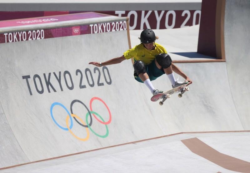 Foto de keegan palmer, medallista de oro en skate park en tokio 2020
