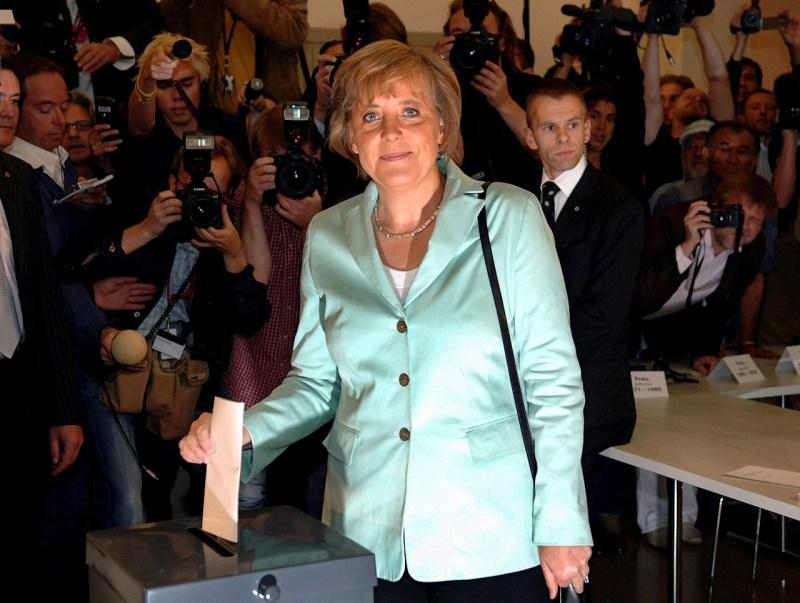Foto de angela merkel en elecciones pasadas de alemania
