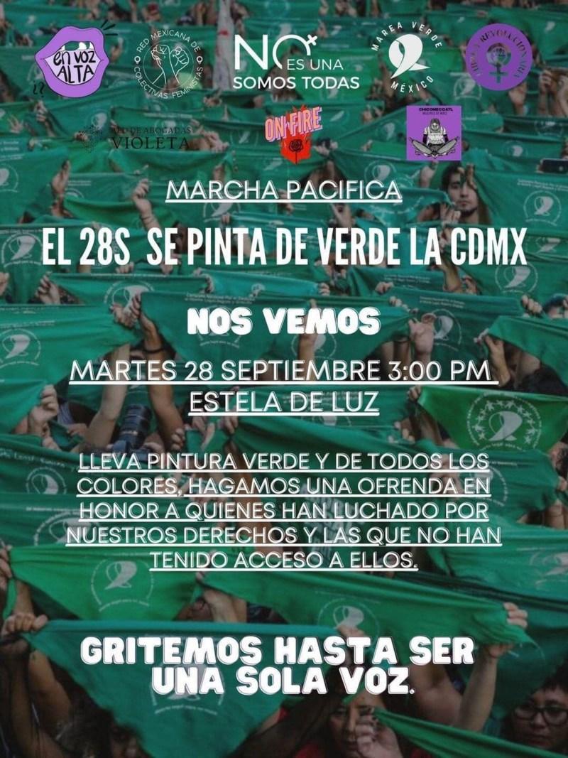 Foto del cartel para la marcha en favor del aborto de este 28 de septiembre