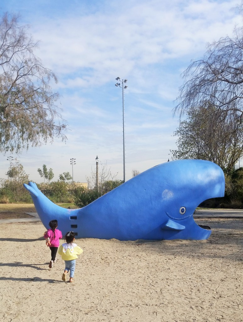 Whale Slide at Laguna San Gabriel Park in Los Angeles. Perfect for under the sea kids party.