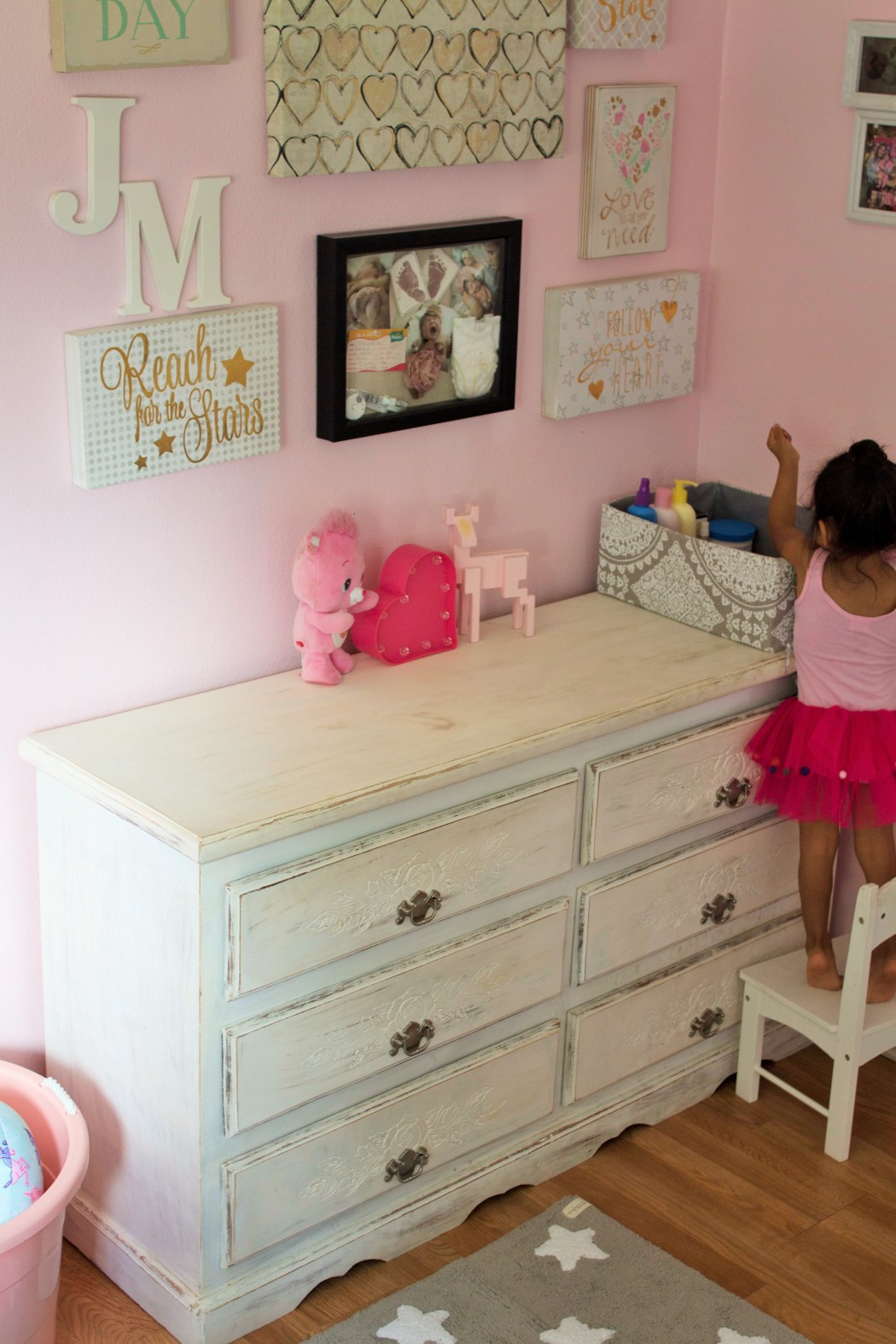 Girls Pink, Gray and Black Shabby Chic Room