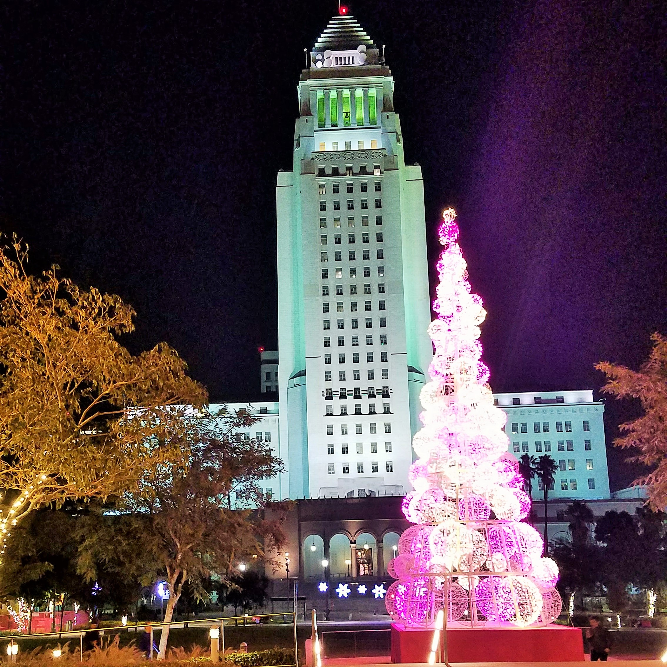 Pink Christmas Tree at Grand Park Los Angeles