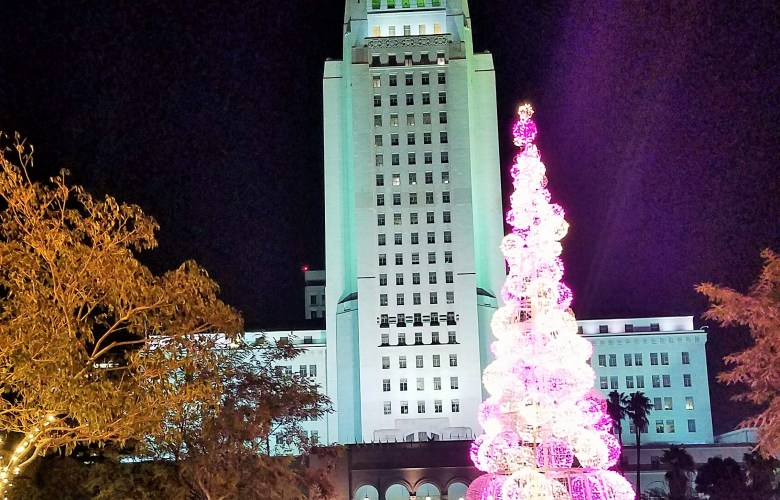 Pink Christmas Tree at Grand Park Los Angeles