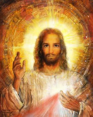 Peinture du buste de Jésus auréolé levant la main