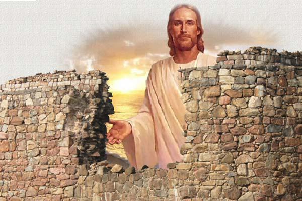 Image de Jésus derrière un mur détruit