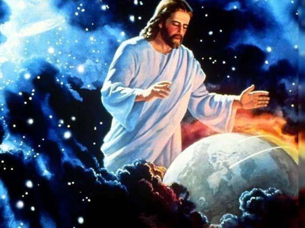 Jésus regarde et protège la terre depuis les cieux