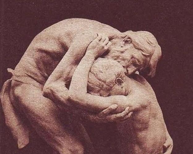 Sculpture de Jésus pardonnant à un chrétien