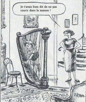 Harpe courir dans la maison
