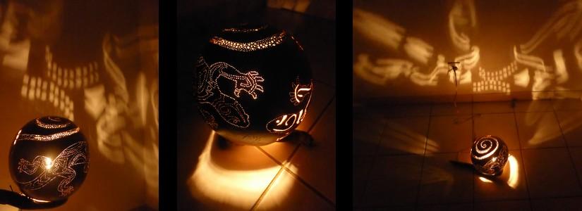Mes lampes en calebasse- petit tuto maison pour fabriquer, graver, sécher, peindre…